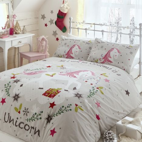 Wishing For Unicorns Christmas Duvet Cover Set