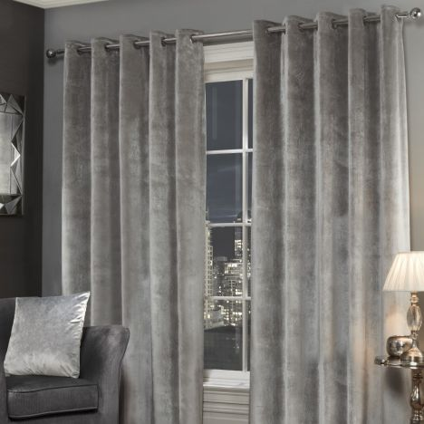 Plush Velvet Fully Lined Ring Top Eyelet Curtains - Silver Grey