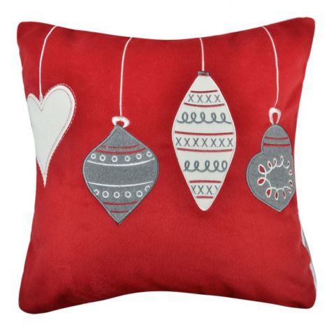 Christmas Decorations Filled Cushion - Red