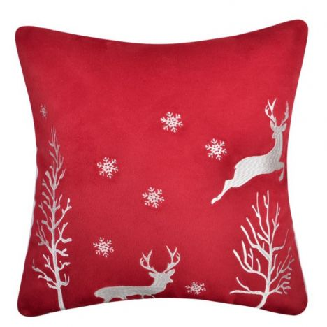 Christmas Reindeer Filled Cushion - Red