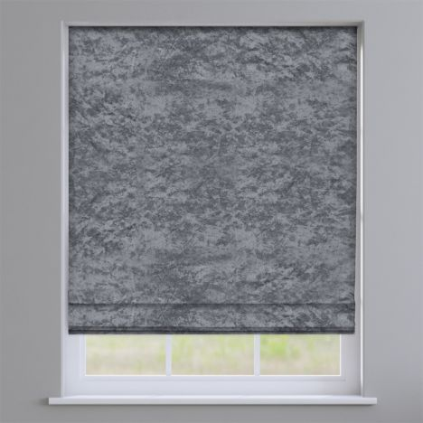 Crushed Velvet Steel Roman Blind