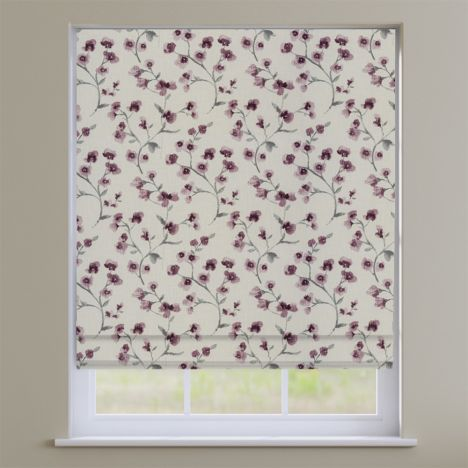 Como Blossom Grape Purple Floral Roman Blind