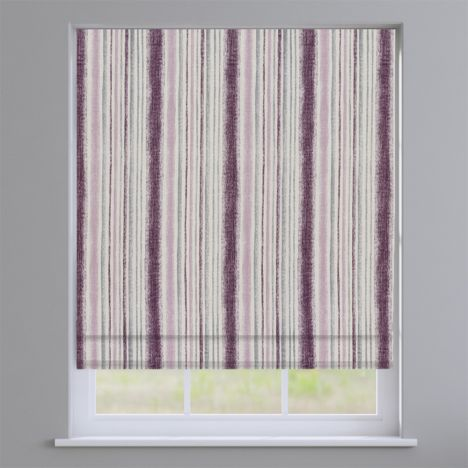 Garda Striped Grape Purple Roman Blind