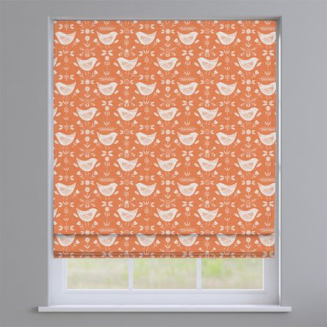 Narvik Burnt Orange Scandinavian Birds Roman Blind
