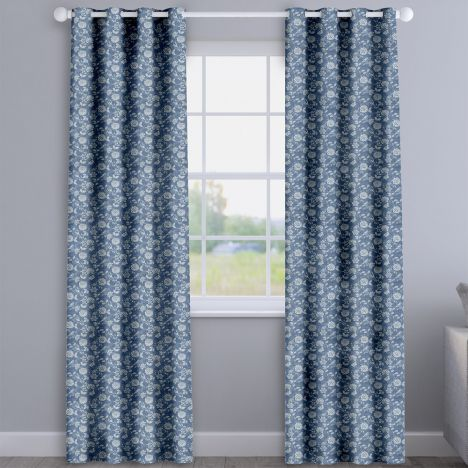 Bird Garden Denim Blue Delicate Floral Made To Measure Curtains
