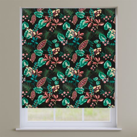 Fandango Zinc Black Tropical Floral Roman Blind