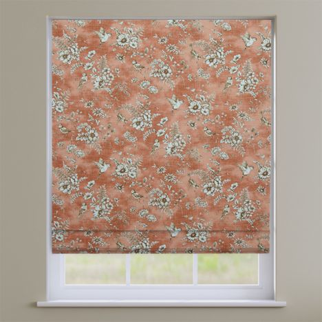 Rosamund Coral Orange Floral Roman Blind