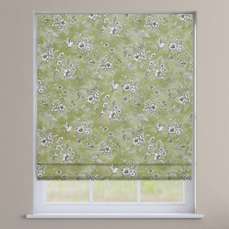 Rosamund Willow Green Floral Roman Blind
