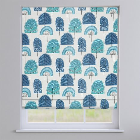 Scandi Wood Indigo Blue Modern Roman Blind