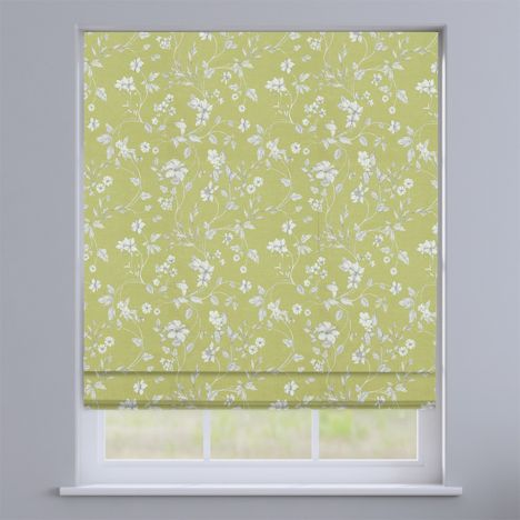 Etched Fern Green  Delicate Floral Roman Blind