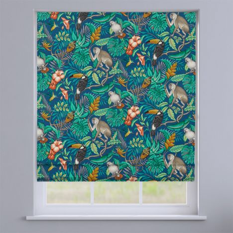 Rainforest Marine Blue Exotic Animals Roman Blind