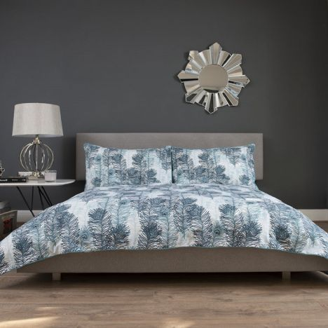 Peacock Feather 100% Cotton Duvet Cover Set - Teal