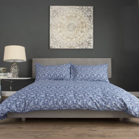 William Floral 100% Cotton Duvet Cover Set - Navy