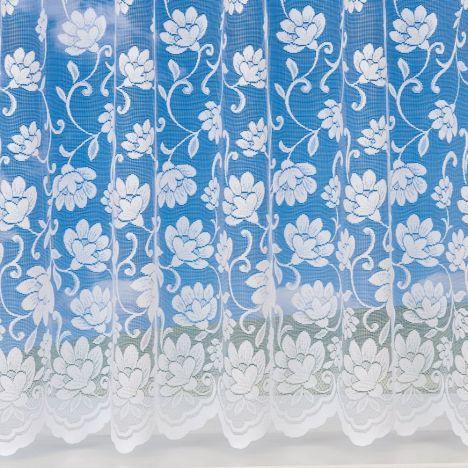 "Charlotte Floral White Net Curtain - Amazon: 36"" Drop"