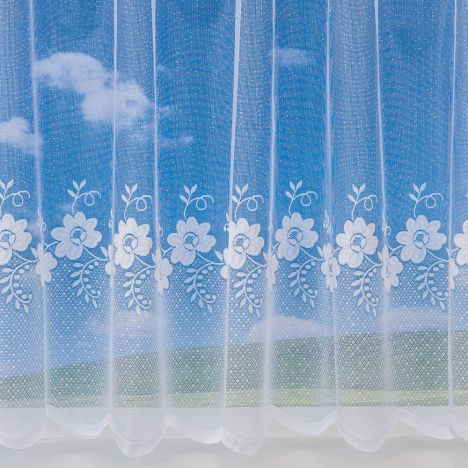 "Floral Swirl 4160 White Net Curtain: 36"" Drop"