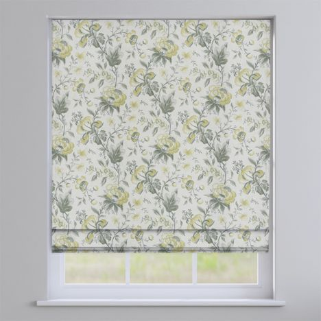 Hampton Flint Yellow Traditional Floral Roman Blind