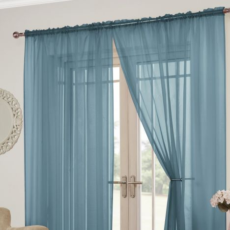Lucy Slot Top Pair of Voile Curtains - Teal Blue