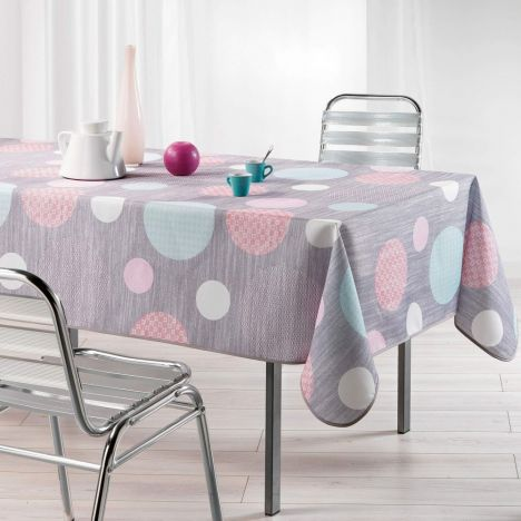 Atolls Polka Dots Linen Look Tablecloth - Grey & Pink