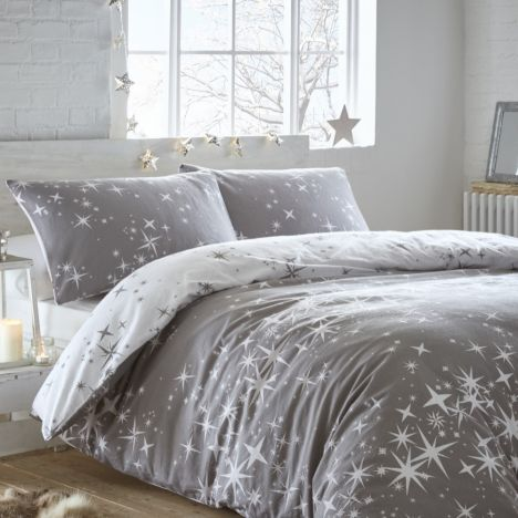 Galaxy Thermal Flannelette Reversible Duvet Cover Set - Grey