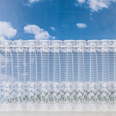 "Sunflower Cafe Net Curtain - White: 12"" Drop"