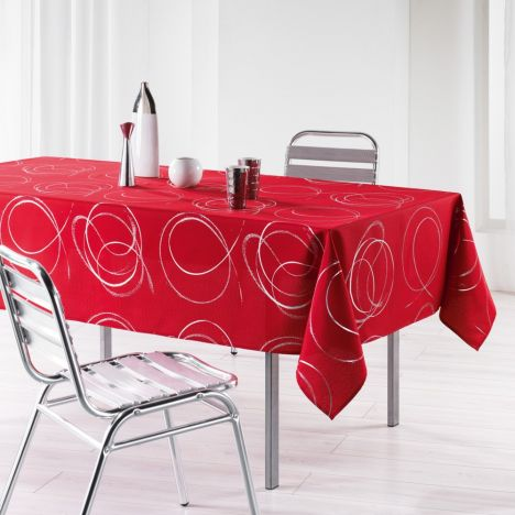 Silver Swirls Linen Look Tablecloth - Red