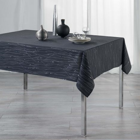 Filiane Applique Polyester Tablecloth - Charcoal Grey