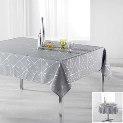 Luxury Quadris Geometric Tablecloth - Grey with Silver Metallic Print