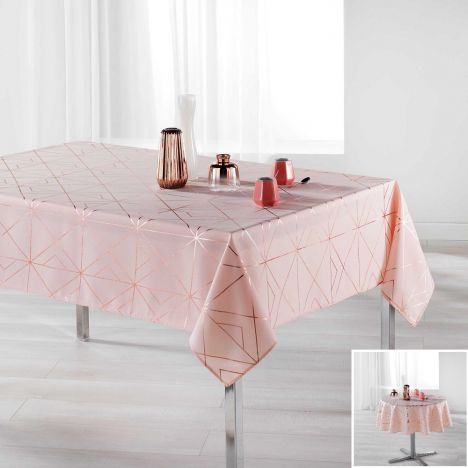 Luxury Quadris Geometric Tablecloth - Pink with Gold Pink Metallic Print