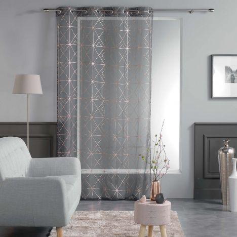 Luxury Quadris Geometric Voile Eyelet Curtain Panel - Charcoal Grey with Gold Pink Metallic Print
