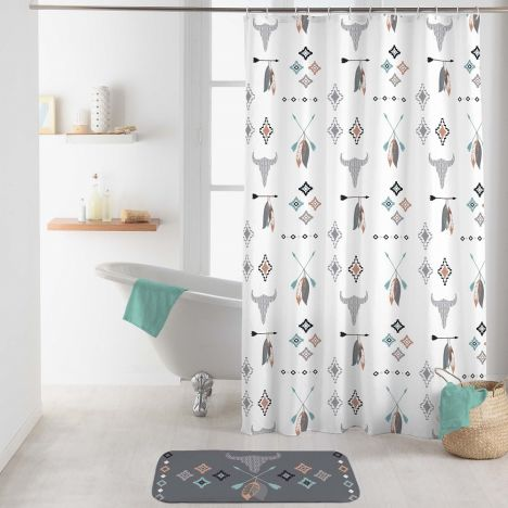 Apache Shower Curtain with Hooks - Multi