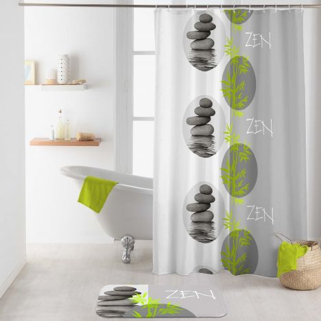 Tibetain Shower Curtain with Hooks - Grey & Green