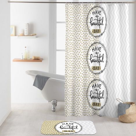 Beautiful Shower Curtain with Hooks - Natural