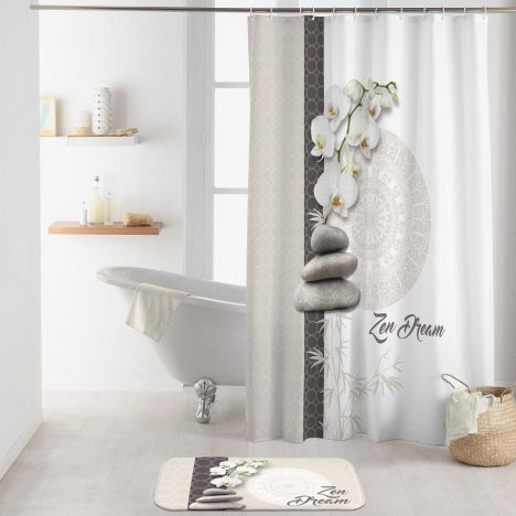 Orchizen Shower Curtain with Hooks - Grey