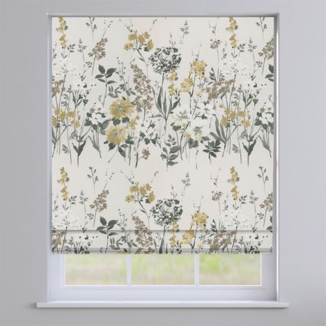 Wild Meadow Charcoal Grey Floral  Roman Blind