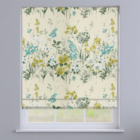 Wild Meadow Pistachio Green Floral Roman Blind