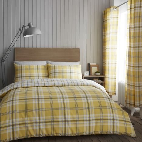 Catherine Lansfield Kelso Check Duvet Cover Set - Ochre Yellow