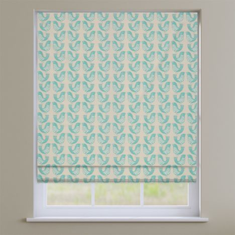 Scandi Birds Aqua Blue Modern Roman Blind
