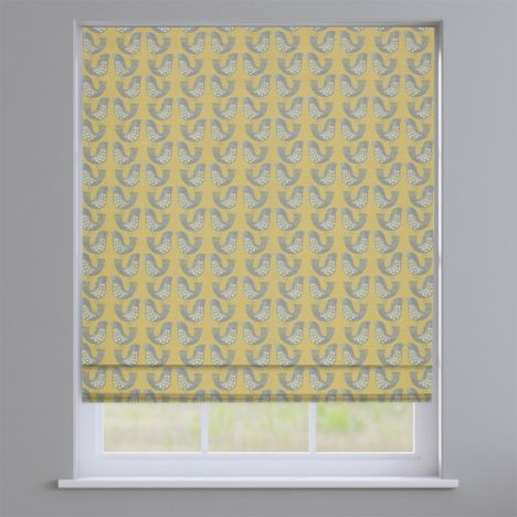 Scandi Birds Mustard Yellow Modern Roman Blind