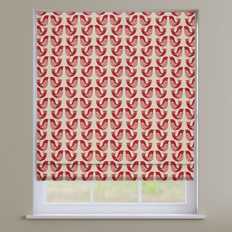 Scandi Birds Scarlet Red Modern Roman Blind
