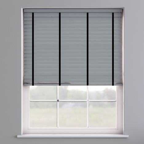 Faux Wood Venetian Blind With Tape - Pewter Grey & Black