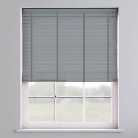 Faux Wood Venetian Blind With Tape - Pewter Grey & Dark Grey