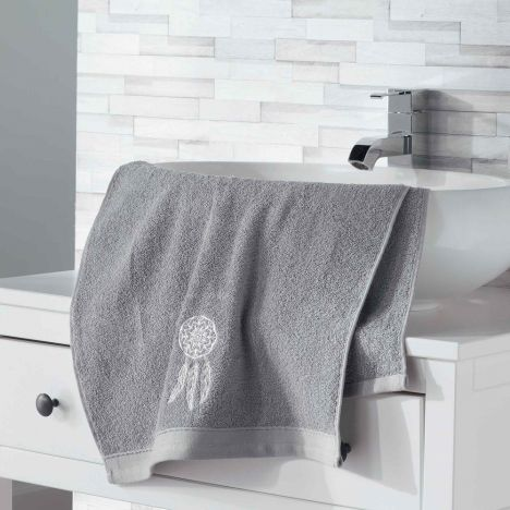 Talisman 100% Cotton Embroidered Towel - Grey