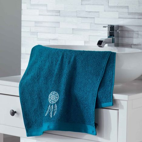 Talisman 100% Cotton Embroidered Towel - Blue
