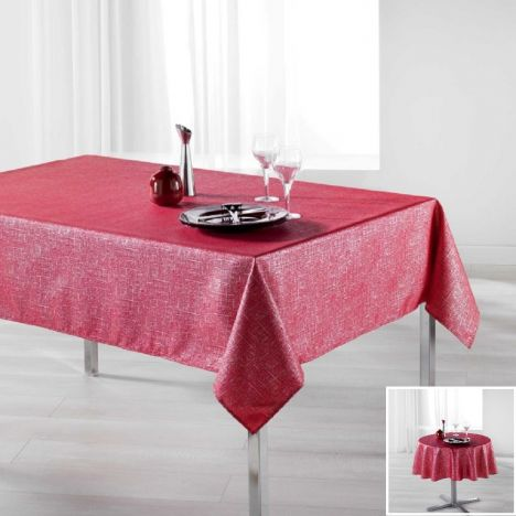 Palacio Silver Printed Tablecloth - Red