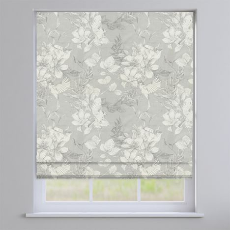 Scribble Feather Grey Floral Roman Blind