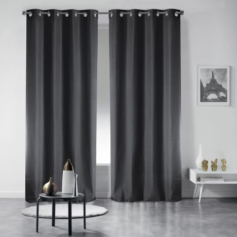 Pair of Occult Plain Blackout Eyelet Curtains - Black