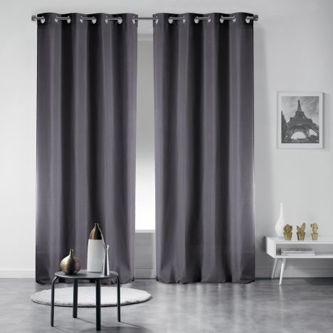 Pair of Occult Plain Blackout Eyelet Curtains - Charcoal Grey