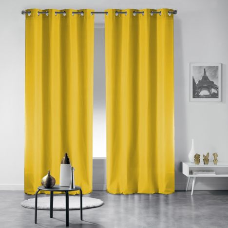 Pair of Occult Plain Blackout Eyelet Curtains - Yellow