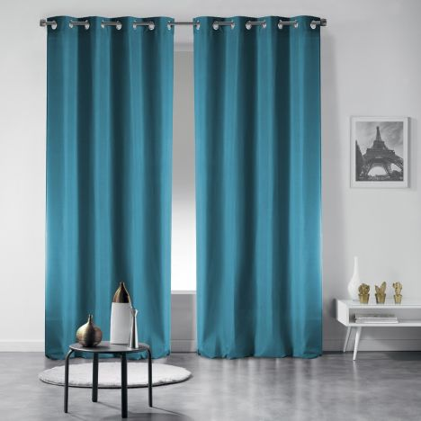 Pair of Occult Plain Blackout Eyelet Curtains - Teal Blue
