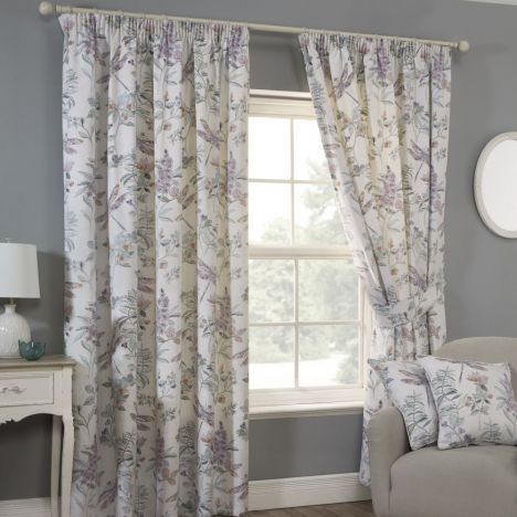 Dragonfly Fully Lined Floral Tape Top Curtains - Multi